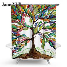 JaneYU 25 Colors bath Curtain Eco-Friendly High Quality Customized geometry Waterproof Polyester Fabric For The Bathroom curtain
