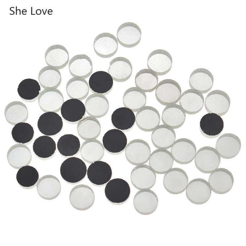 She Love 50Pcs/lot 10x4mm Mini Round Glass Mirror Mosaic Tiles For DIY Handmade Crafts Home Decoration Supplies