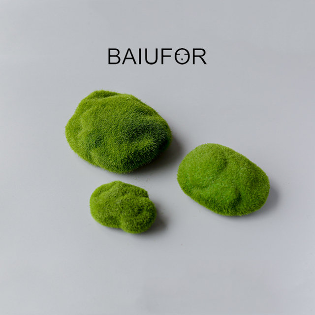 BAIUFOR Flocking Moss Stone Foam Rock Model Fairy Garden Miniatures DIY Terrarium Figurines Desktop Decor Home Accessories 3