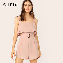 SHEIN Pink Zip Back Ruffle Foldover Buckle Belted Tank mamelucos mujer mono correas Playsuit verano Oficina señora general Romper(China)