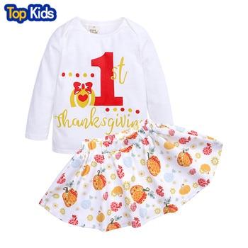 2019 dress white 1st Thanksgiving Tops Orange Pumpkin Skirt  Kids Wear Girls Boutique Cotton and Milk Silk Clothing MB466 1