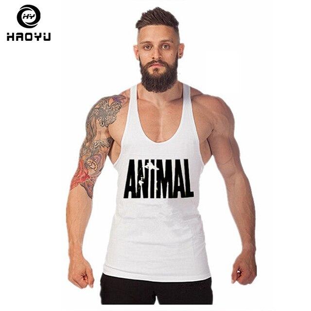 e6b459fa9181b Animal Gym Fitness Tank Top Men Stringer Golds Bodybuilding Muscle Shirt  Workout Vest Cotton Sport Undershirt Clothes Plus Size