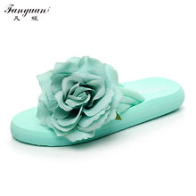 2017 Summer Solid Mint Green Slippers Low Wedge Heels Woman Flip Flops Flower Platform Slippers Beach Sandals