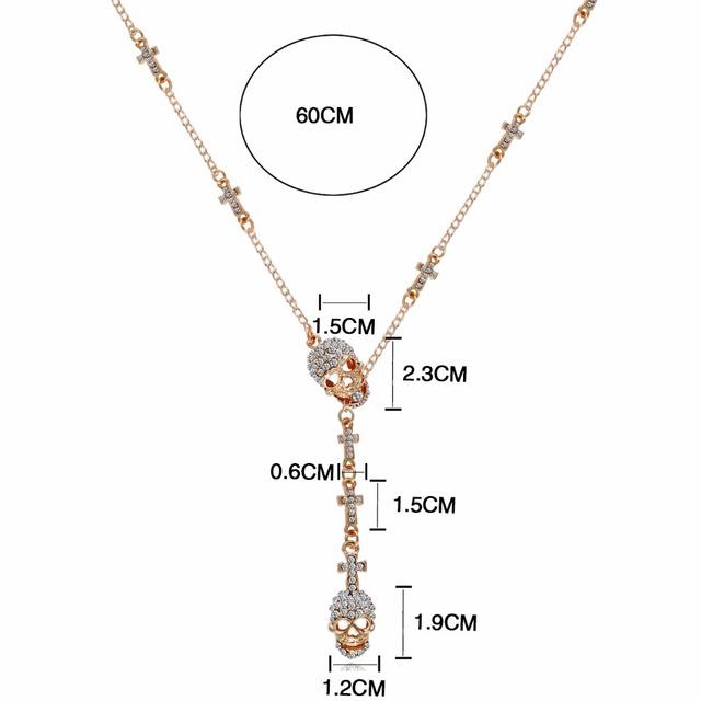 Crystal Three skeleton skull Long Hip Hop Choker for Women's