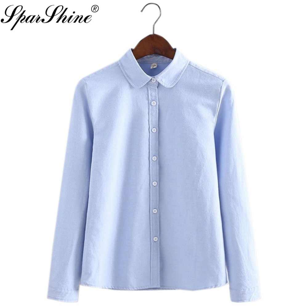 d1781722ce9e0 Women Blouse 2017 New Casual Long Sleeved Cotton Oxford Candy Colors Shirt  Woman Office Shirts Excellent