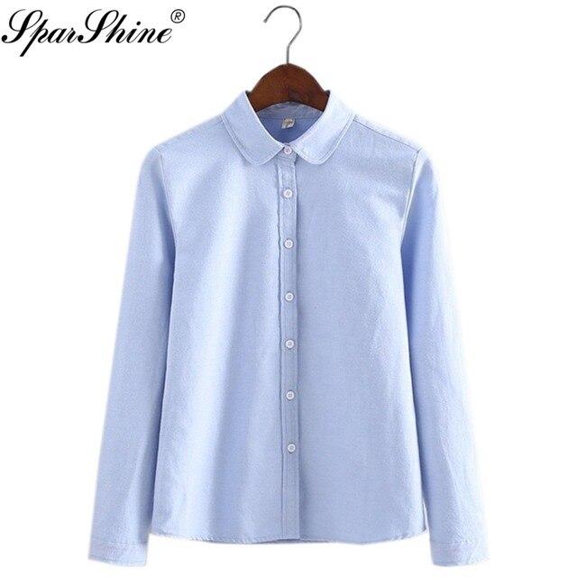 Wanita Blus 2017 Baru Kasual Lengan Panjang Cotton Oxford Permen Warna Kemeja  Wanita Kantor Shirts Kualitas 2b09526ab3