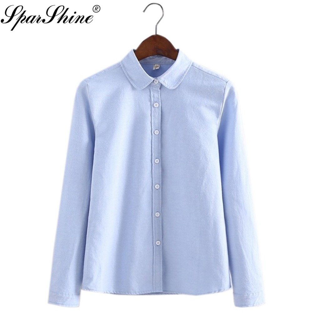Women Blouse 2017 New Casual Long Sleeved Cotton Oxford