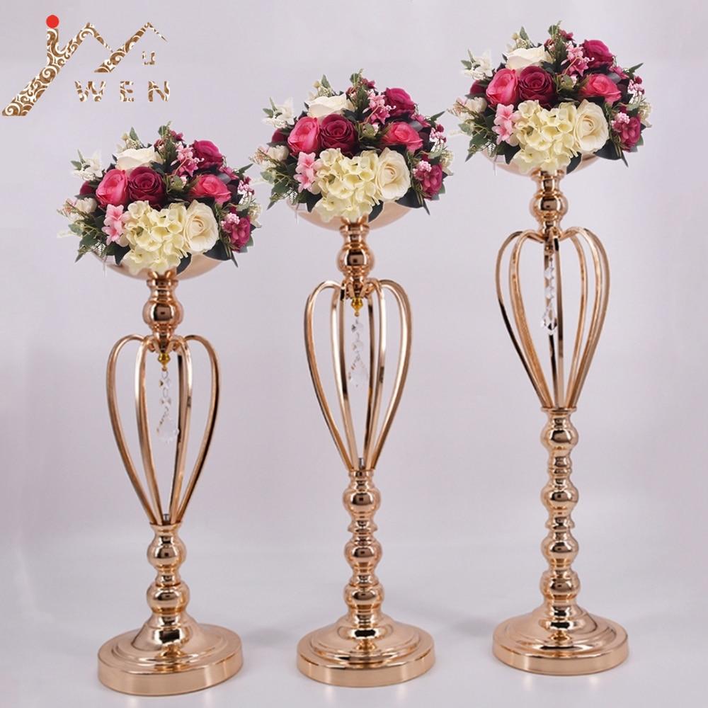 Classique En Métal Or Bougeoirs De Table De Mariage Chandelier Accueil Party Maîtresse Fleur Rack Couronne motif Vase Décor 3 Taille