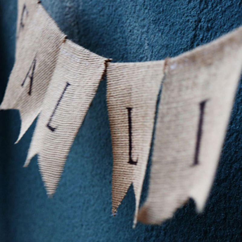 FALLING IN LOVE Burlap Banner Bunting Garland Thanksgiving Day