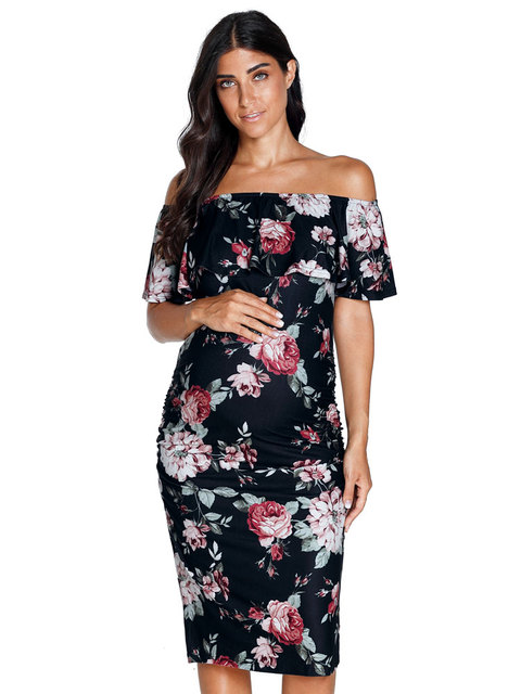 b100d1ca379ee US $10.99  2018 Summer New Sheath Ruffle Off Shoulder Floral Maternity  Dresses Clothes For Photography Props Pregnancy Dress Flower print-in  Dresses ...