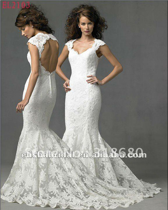 Discount Simple Elegant Open Back Long Sleeve Wedding: Elegant White Mermaid Sweetheart Cap Sleeve Lace Open Back