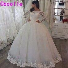 Vestido de noiva suknia balowa księżniczka suknie ślubne z długim rękawem zroszony Off the Shoulder suknie ślubne szata de mariage