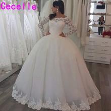 Vestido דה noiva כדור שמלת נסיכת חתונת שמלות עם שרוולים ארוכים חרוזים כבוי כתף שמלות הכלה robe de mariage