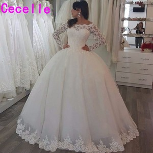 Image 1 - vestido de noiva Ball Gown Princess Wedding Dresses With Long Sleeves  Beaded Off the Shoulder Bridal Gowns robe de mariage