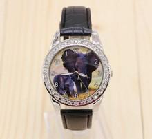 Sizzling Standard Model New Black elephant Animal Watch Quartz Crystal Diamonds Black Strap Wristwatch Watch Reward Y16
