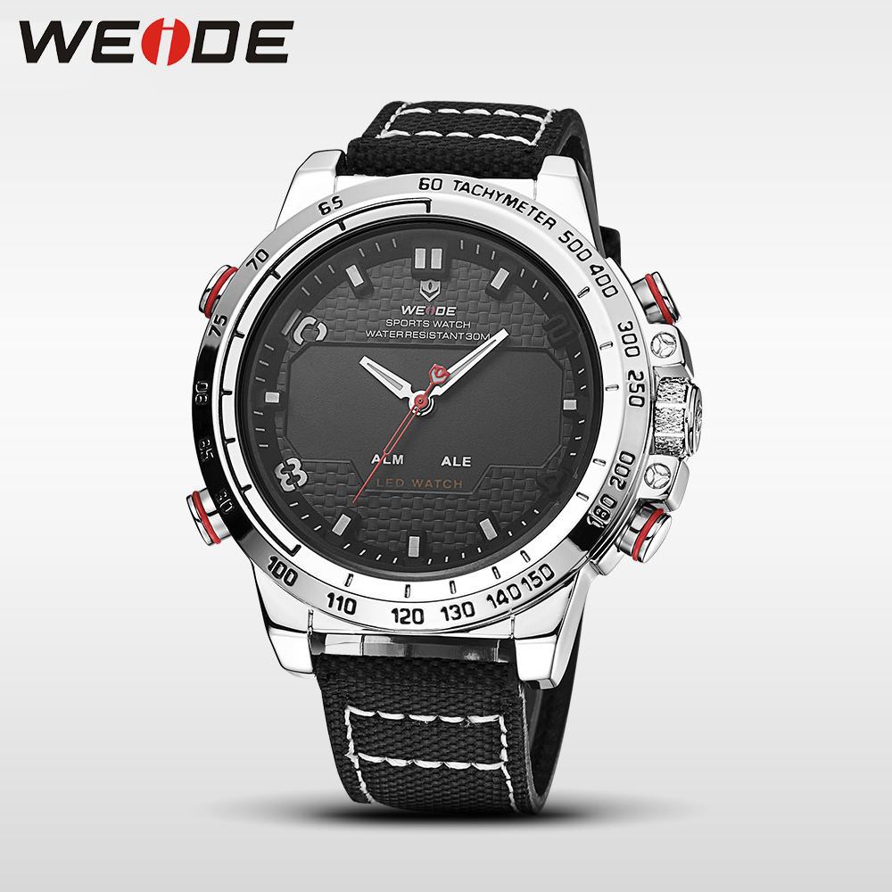 WEIDE men watches 2017 luxury brand Famous Brand Sports Watch Men Digital Quartz Alarm nylon Strap relogio automatico masculin