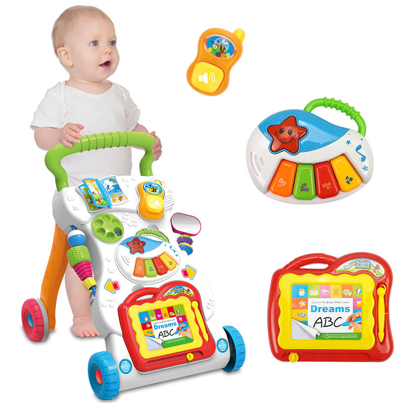 Hand Push Along Walker Hand Cart Baby Designer Baby Stroller Baby Walker Music Sounds Lights Activity Toy Kids Bike