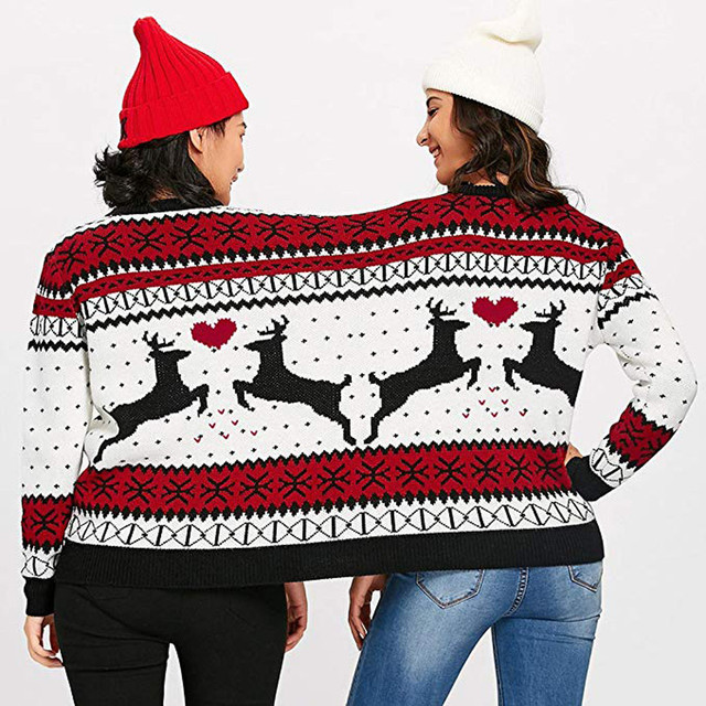 Winter Couples Sweater pullover 2018 Two Person Ugly Sweater Couples Pullover Novelty Christmas sweater for women Pull Femme 3XL