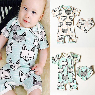 2016 New Baby Clothes Newborn Baby Boys Girls Jumpsuit Toddler Kids Fox Romper and Dribble Bib 2pcs Set Baby Kleider fashion 2pcs set newborn baby girls jumpsuit toddler girls flower pattern outfit clothes romper bodysuit pants