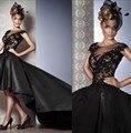 Moda Negro Alto Bajo Vestido Trasero Largo Delantero Corto Vestido de Noche Con Apliques de Encaje Rebordear Vestido de Fiesta Noche de Las Mujeres