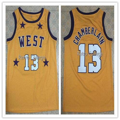 #13 Wilt Chamberlain 1972 All Star West yellow Basketball Jersey broderie surpiqué personnaliser n'importe quel nom et numéro
