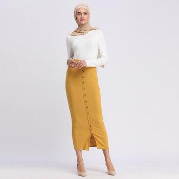 10132fd28b Musulmana vestido de mujer falda de faldas largas de algodón de punto falda  lápiz Ramadán fiesta servicio de adoración ropa islámica