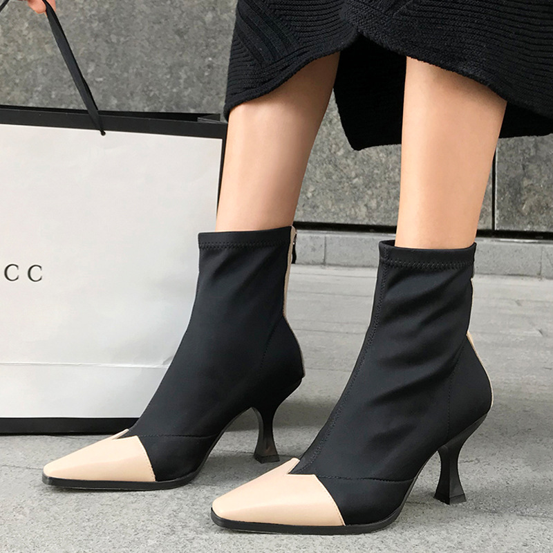 European luxury brand 18 autumn and winter boots leather color matching elastic bra chain high heel women winter shoes stylish hemming chain and striped printing color matching voile scarf for women