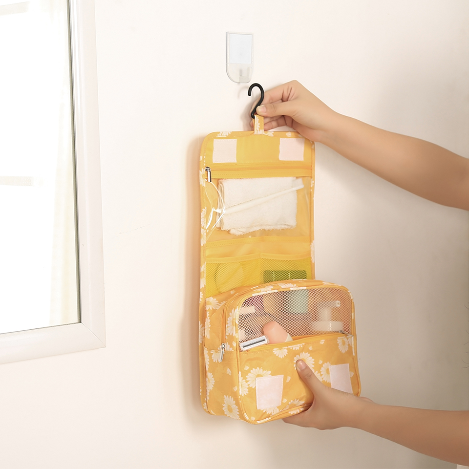 Image 4 - Travel Toiletry Bag, NEW Daisy Yellow Pattern Portable Hanging Travel Wash Bag Foldable Make up Bags with Hook Organizer Bags-in Hanging Organizers from Home & Garden