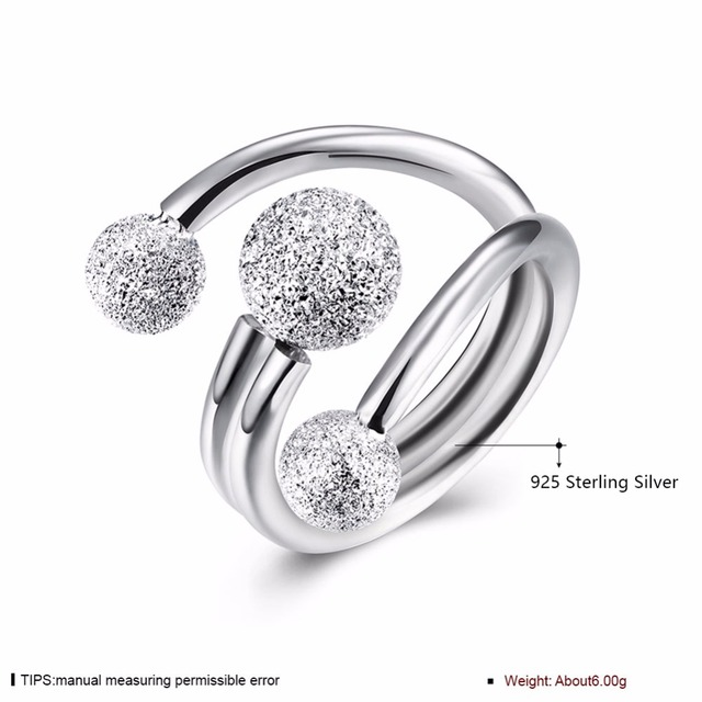 Surround Design Ball Adjustable Ring Solid 925 Sterling Silver Jewelry Women Rings For Party Gift Ideas(JewelOra RI102206)