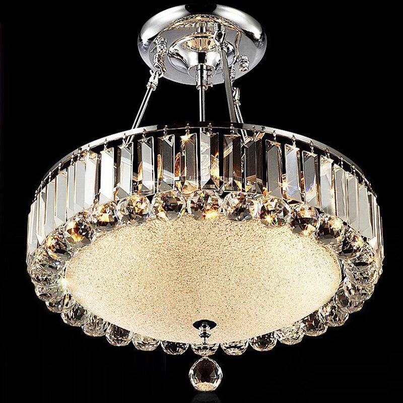Round Modern Crystal Chandelier Living Room Led Restaurant Lamp Lamps Ceiling Light Lampen Work