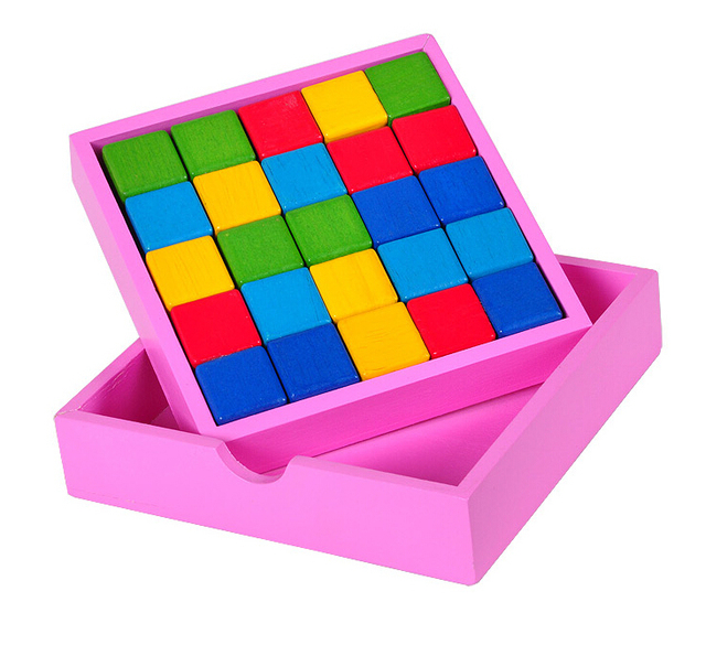 Colorful 2D IQ Mind Wooden  Brain Teasers Puzzle Game for Children Adults