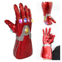 New Avengers Endgame Marvel Superhero Tony Stark Iron Man Cosplay Arm Glove Infinity Gauntlet Right Hand Thanos LED Gloves Toy