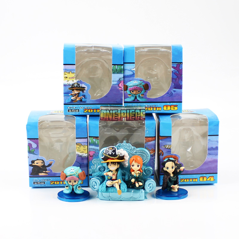 4 7cm 5pcs/lot One Piece Q egg box Luffy Monkey cute