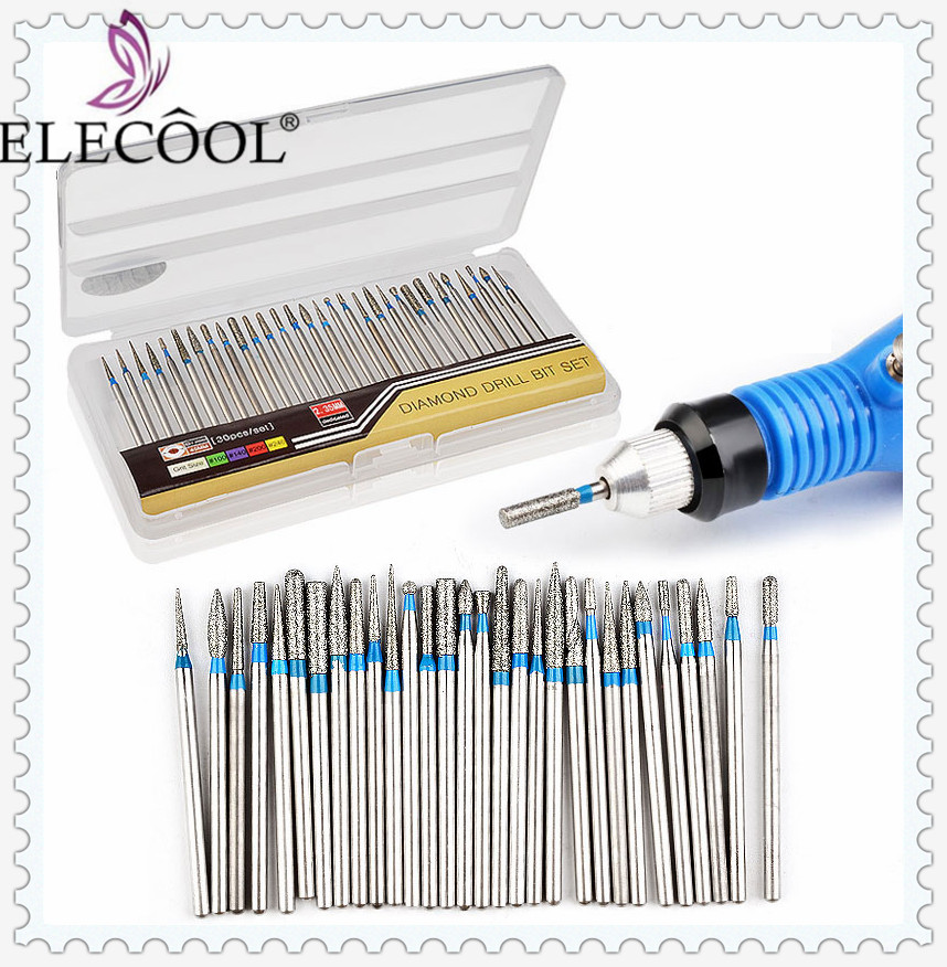 30Pcs Electric Nail Drill Bits 2.35mm Shank Kit Milling Cutter Manicure Machine Device Ceramic Nail Art Tool Set Pedicure Frezen
