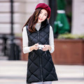 Plus Size Winter Autumn Fashion Women Waistcoat Sleeveless Long Hooded Vest Solid Patchwork Slim Ladies Cotton Coats 40691