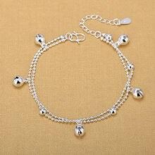 Женские браслеты с бусинами колокольчиками из серебра 925 пробы