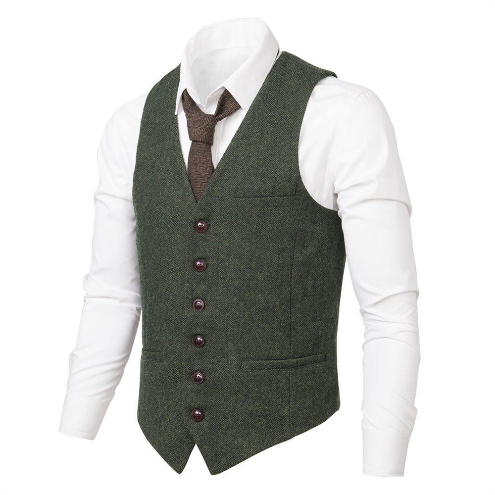 VOBOOM Green Wool Tweed Suit Vest Mens Waistcoat Single-breasted Herringbone Casual Fitted Suit Vests 007