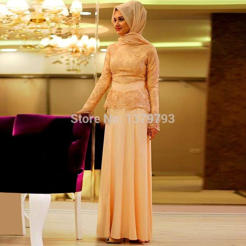 Formal Lace Long Sleeve Muslim Evening Dress 2016 Turkish Maxi Abaya Dubai  Islamic Kaftans Clothing Green women gowns-in Evening Dresses from Weddings  ... ca70b5cac006