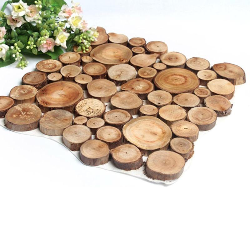100 Pcs/set Nature Pine Wood Chip Polished Base Handmake Craft Mini Micro Landscaping Home Garden Decoration Diy Accessories