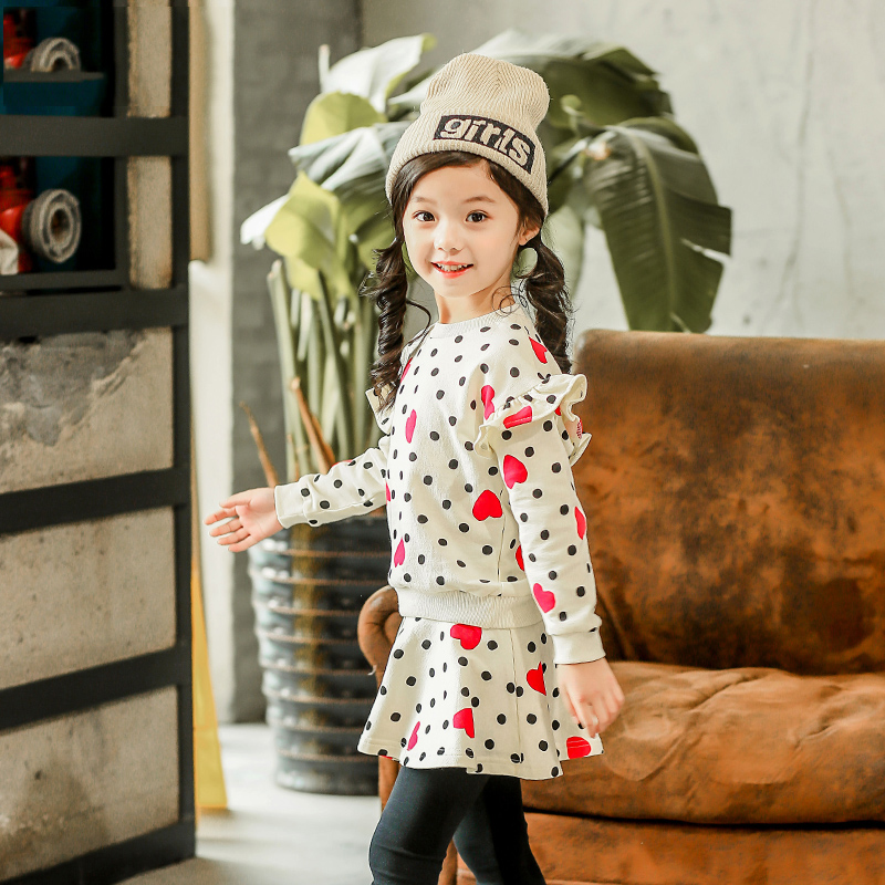 High quality boutique two piece set for girls New Arrival 2018 big girl long sleeve t shirt + divided skirt kids Clothes Sets