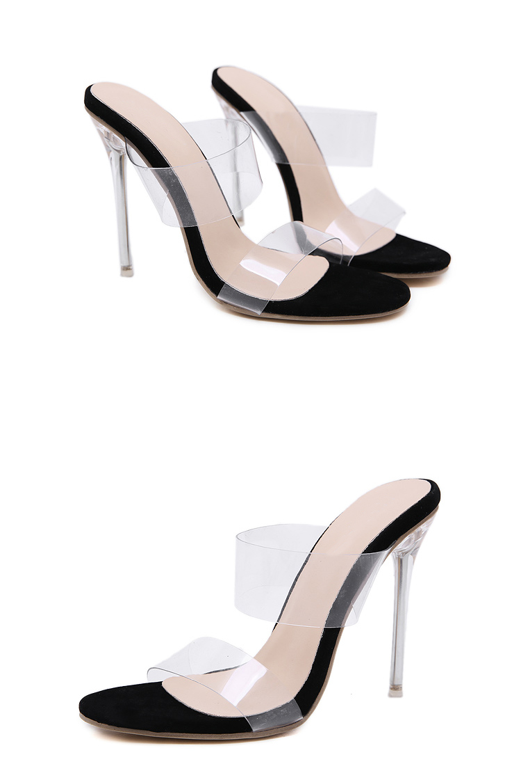 Eilyken Women Slippers PVC Transparent Crystal heel Women Sexy Clear Thin Heels  Summer Sandalias Pumps Black size 35-40 2997469a8fe0