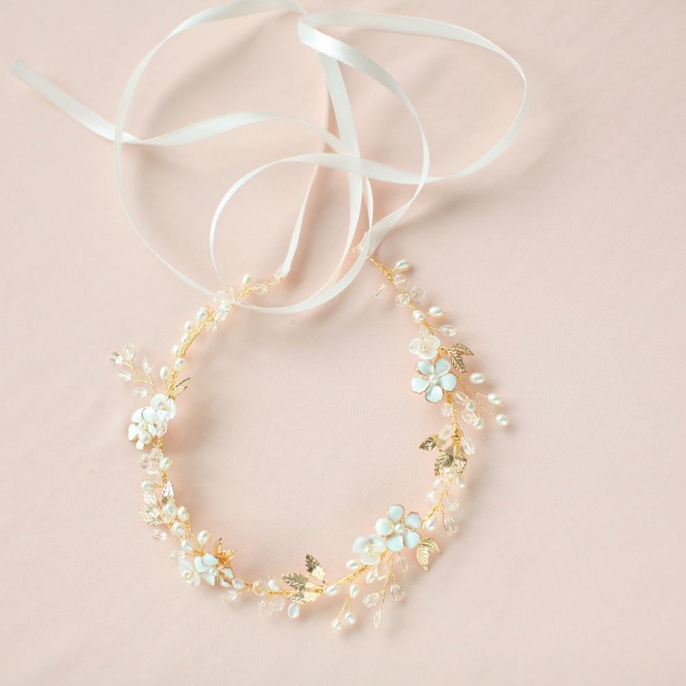 Fresh Water Pearls Wedding Flower Crown Ivory Hair Vine Headband Rustic Head Wreath Bridal Headpiece Wedding Hair Accessories