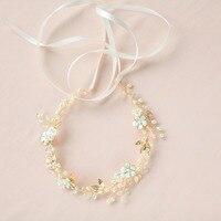 Fresh Water Pearls Hoa Cưới Vương Miện Ngà Tóc Nho Headband Mộc Mạc Đầu Vòng Hoa Bridal Mũ Sắt Wedding Phụ Kiện Tóc