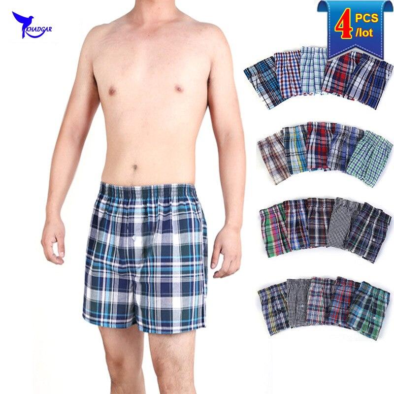 4PCS/lot Mens Underwear Boxers Loose Shorts Cotton Panties Comfortable Beach Boardshorts Large Arrow Pants Homewear Underpants