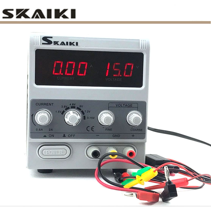 Skaiki <font><b>1502D</b></font>+ 1502DD 15V 2A 0.01A Digital display adjustable electronic maintenance power supply with Multifunctional test lines image