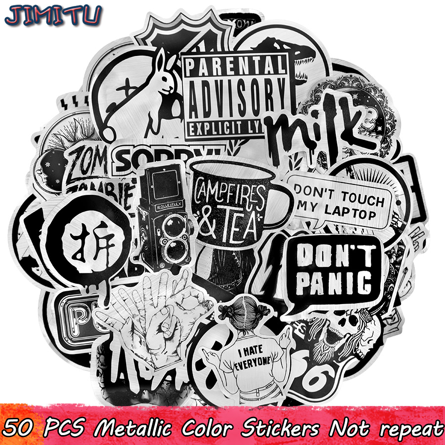 50 PCS Metallic Black And White Sticker Punk Funny Cool Sticker DIY For Laptop Motorcycle Bicycle Guitar Suitcase Skateboard Car
