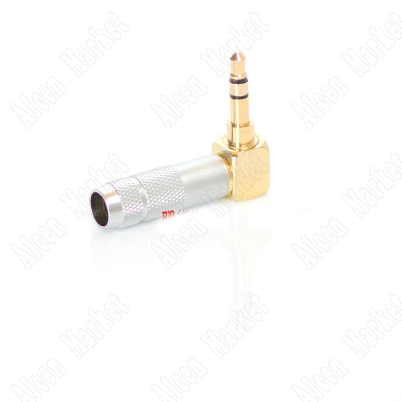 10pcs-500pcs Gold Plated 3.5mm Stereo 3 Pole Male Plug Angled 90 Degree Audio Connector Solder high quality stereo ranko 3 5mm 3 pole 90 degree l shape repair headphone jack plug cable solder free shipping