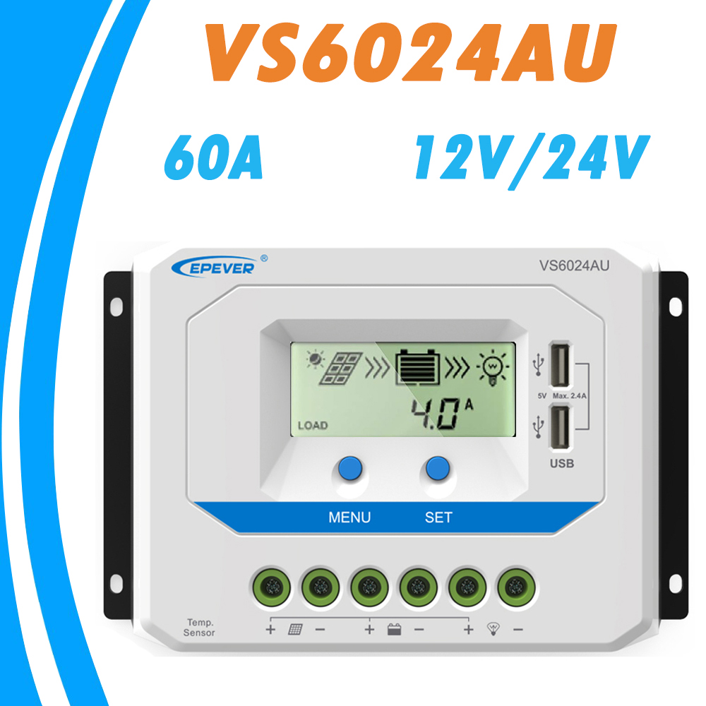 EPEVER 60A Solar Controller 12V 24V Auto VS6024AU PWM Charge Controller with Built in LCD Display and Double USB 5V Port EPsolarEPEVER 60A Solar Controller 12V 24V Auto VS6024AU PWM Charge Controller with Built in LCD Display and Double USB 5V Port EPsolar
