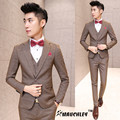 MAUCHLEY 3 Piece/Set Men Suits Korean Suit Of High-Grade Fabric Three Wedding Dress Suit A single Breasted Coffee Color Pattern