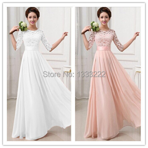 023150cc6c71 KF274 New style long dress party elegant gowns pink and white floor length lace  long dress formal maxi chiffon long dress